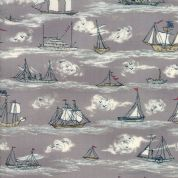 Moda - Ahoy Me Hearties by Janet Clare - 5705 - Sailing Boats on Grey - 1432 13 - Cotton Fabric